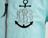 Monogram Rain Coat Nautical Personalized Hood & Left Chest, Gifts for Mom, Gifts for her, Personalized Gift, Monogrammed Rain Jacket,