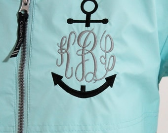 Monogram Rain Jacket Nautical Personalized Hood & Left Chest, Gifts for Mom, Gifts for her, Christmas Gift, Personalized Gift