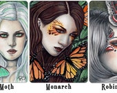 Moths and Butterflies Limited Edition ACEO Print Luna Moths Monarch Butterflies Robin Moth Fantasy Fairy Portrait Artist Trading Cards ATC
