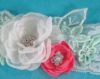 Mint Wedding Garter set, lace, Coral, flower, bridal garter F166, bridal garter accessory, garter