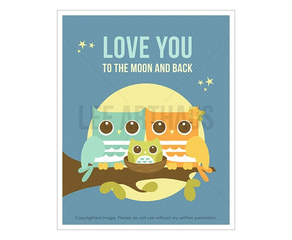 25T Owl Print - Love You to the Moon and Back - Moonlight Owls with Boy Owl Wall Art - Woodland Nursery Art - Inspirational Quote - Owl Art