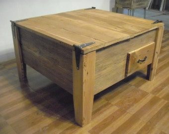 Reclaimed barn wood Coffee table with drawers -storage