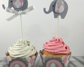 Elephant  CupCake Toppers, set of 12~ Baby Shower Decor, Blue, Pink,