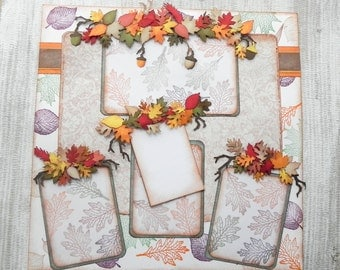 """Fall Leaf Layout Deluxe 1 page scrapbook layout - 12"""" x 12"""" fall scrapbook layout"""
