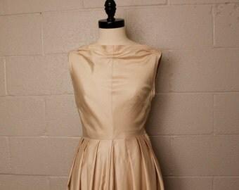 Vintage 1950's Beige Cotton Sleeveless Dress S Petite