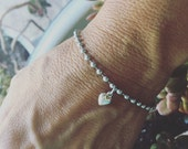 Stainless Steel Bead Chain Bracelet with Sterling Silver Heart Charm