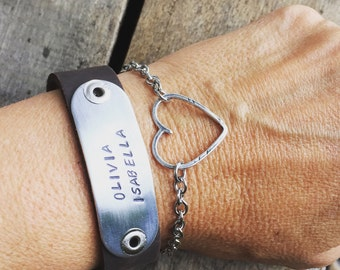 New Open Link, Open Heart paired with our Leather Hand Stamped Bracelet Perfect Gift