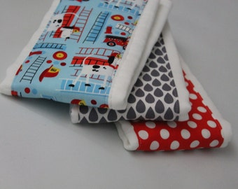 Boy Burp Cloth with a Fire Fighters Themed  Fabric  3-pack 6 ply Burp Cloth