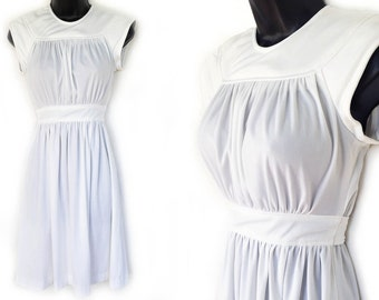 70s White Cap Sleeve Dress XS S