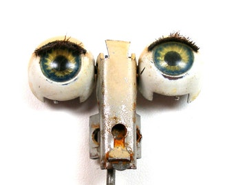 "Antique Doll EYES, Green glass with metal on rocker, 5/8"" sleepy eyes, blinking eyes."