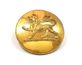 "1800s LION BUTTON, Antique Victorian Livery brass button 1""."