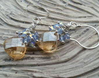 JOY - Faceted Yellow Topax Drop Blue Swarovski Crystal Clusters