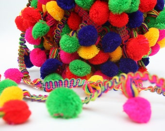 Pom Pom Trim, Multi Color Pompom lace,  Scarf pom pom trim, Fringe Pom Poms,  Indian Trim, Gypsy, Boho , Belly Dance, 1 yard