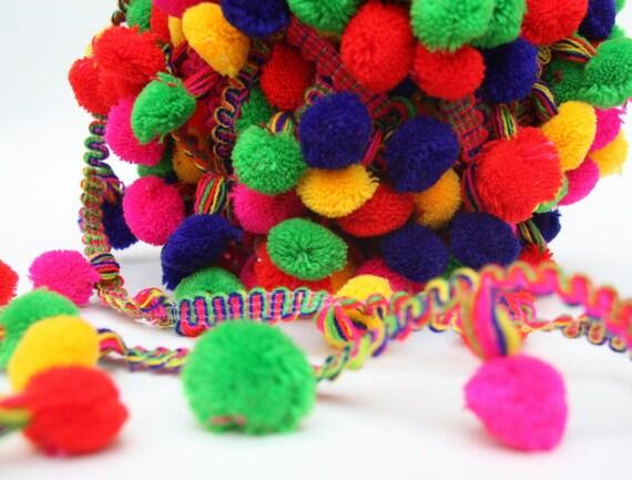 Pom Pom Trim, Multi Color Pompom lace, Scarf pom pom trim, Fringe Pom ...