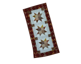 Quilted Table Runner Sawtooth Star Modern Patchwork One of a Kind Free USA Shipping