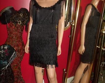 Vintages  Black Fringes Dress Flapper  Tea Party 20's Theme Size