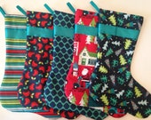 Set of Five Modern Christmas Stockings in Navy Blue, Teal, Red and Green