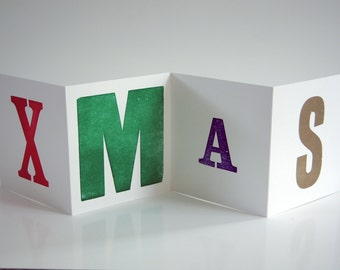 Letterpress Folding Greetings Card - Xmas