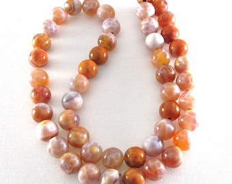 Crab Fire Agate - 8mm Rounds - 16-inch Strand