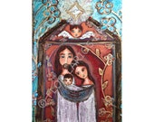 Nativity with Flowers - Original Mixed Media Painting on Canvas by FLOR LARIOS (11 x 14 Inches)