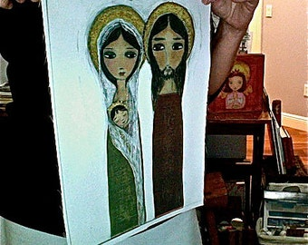 Sacred Family -  Print on Fabric from Original Painting (10 x 14 inches) by FLOR LARIOS