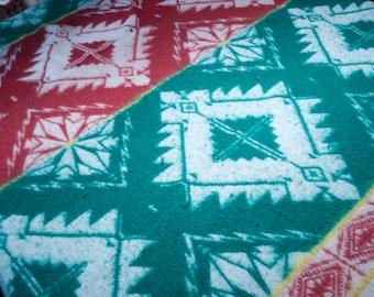 Vintage wool blanket - great southwestern design - twin size