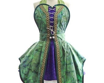 Retro Apron - Hocus Pocus Green Witch Womans Aprons - Vintage Apron Style - Pin up Halloween Rockabilly Cosplay