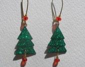 Signed Stephen Dalton Half Baked Ideas Christmas Tree Earrings Kidney Wires