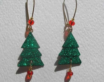 Signed Stephen Dalton Half Baked Ideas Christmas Tree Earrings Kidney Wires