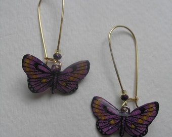 Signed Stephen Dalton Half Baked Ideas Lavender Butterfly Earrings Kidney Wires Solar