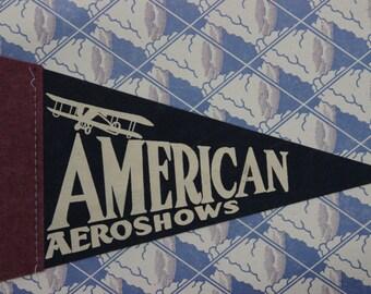 Vintage American Aeroshows Pennant Felt Biplane Pennant Collectors Item Blue and White Air Show Memorabilia Souvenir Pennant
