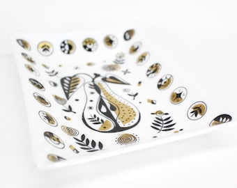 Vintage Georges Briard style glass tray . Beautiful gold and black mid century modern pear and symbol design . 1950s 1960s swanky 1970s