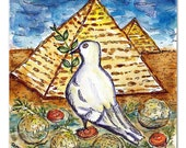 Passover Art, Matzo Ball Soup and Matzo Pyramids, Funny Jewish art, Original Watercolor, Peace Dove, Jewish Gift, Jewish Food