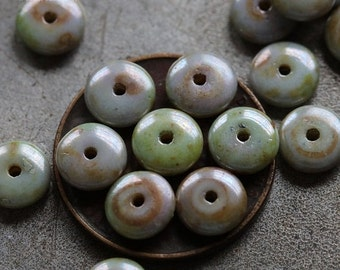10% off LILAC SAGE DISC .. 20 Premium Picasso Czech Glass Disc Beads 6x2mm (4728-20)