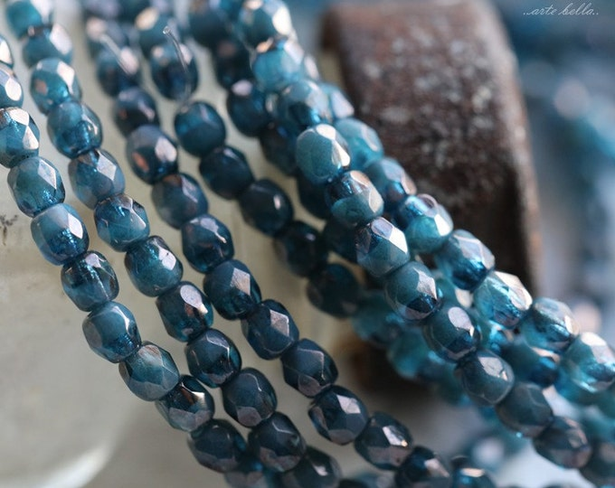 BRONZED DENIM BITS .. 50 Premium Picasso Faceted Czech Glass Beads 3mm (4943-st)
