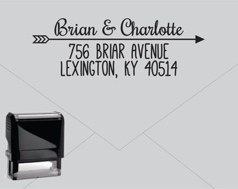 Self Inking Return Address Stamp * Custom Address Rubber Stamp (E029) Arrow