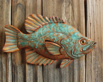 Crappie Sunfish - large copper metal fish sculpture - wall hanging - with blue green and naturally-aged patinas - OOAK
