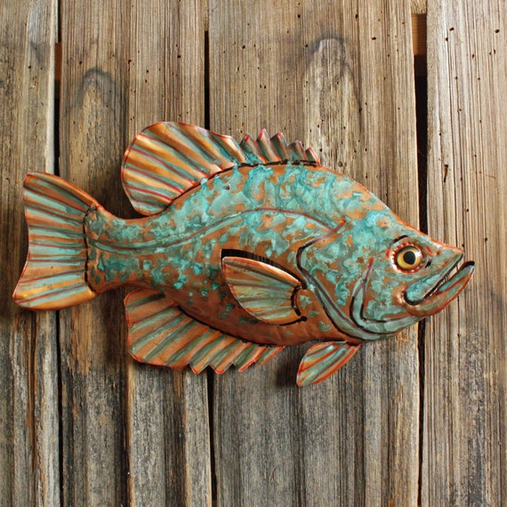 Crappie Sunfish Large Copper Metal Fish Art Sculpture Wall