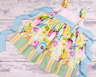 SALE Toddler Girl Clothes, Girls Knot Dress, Spring Summer, in Modern Lotus by Charming Necessities Toddler Girl Back to School Boutique Clo