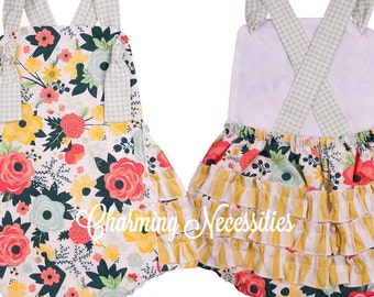 Baby Girl Clothes, Toddler Girl Clothes, Sunsuit Bubble Romper with Ruffles Spring Summer Easter Wildflower Meadow