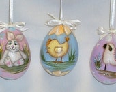 Set of 3 Paper Mache Easter Eggs - Hand Painted