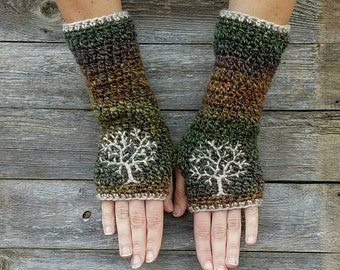 Fingerless Gloves with Tree of Life Embroidery in Green Red Purple Beige Arm Warmers fingerless gloves Hippie Boho Bohemian - MADE TO ORDER