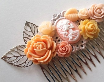 ON SALE Peach Blush Skeletina Cluster Hair Comb - Fascinator Kitschy Cool Pink Offbeat Wedding Bride Skull