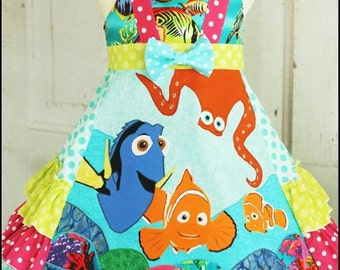Finding Dory Nemo girls boutique dress sizes 2 3 4 5 6 7 8 9 10