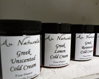 Greek Cold Cream  - Organic  - Four Ounces  -  New Scent - Rose Geranium -  Normal To Dry Skin Types  -  Organic  -   All Natural