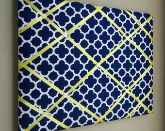 "16""x20"" French Memory Board, Bow Holder, Bow Board, Vision Board, Photography Display, Ribbon Board,  Navy & Yellow Quatrefoil Memo Board"