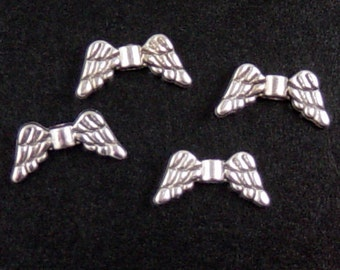 CLEARANCE Angel Wing 50 Antique Silver Charm Bead 14mm wide NF (1034pen14s1)os