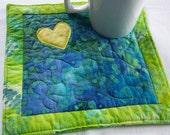Bright Batik  Coaster Mug Rug or Mini Quilt #2