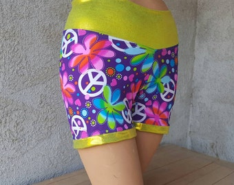 Limited Edition Cracker Wear! Spandex Neon Hippy Flowers Peace Signs Bike Shorts for Roller Derby Workout Yoga Dance Bright Cute Sexy Medium