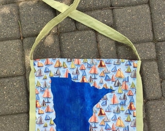 Handpainted Minnesota bag blue sailboats